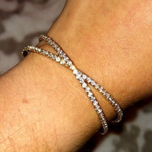 Gold Bracelet with Clear Stones